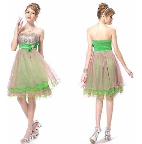 Vestido Importado Verde Rosa Tule Paetes Festa Debutante