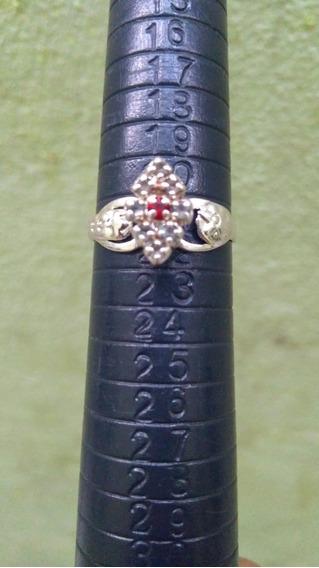 Anel De Formatura Direito Pedra Vermelha Em Prata Numero 21