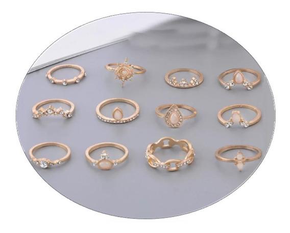 Conjunto 12 Anéis Anel Dourado Cristal Gota Agua Opala A2010