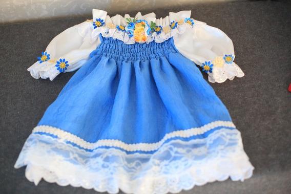 Vestido Azul E Branco Com Renda E Detalhe Floral
