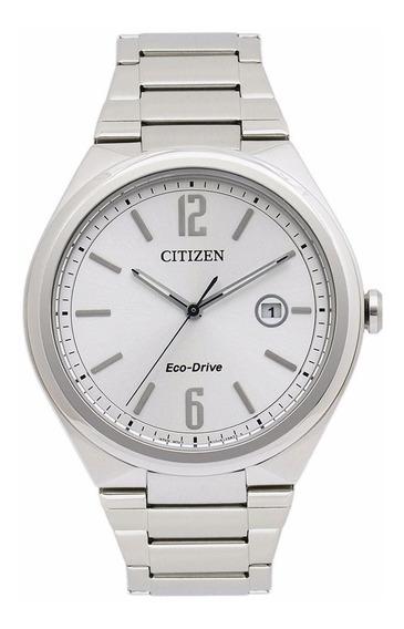 Nuevo Reloj Citizen Eco Drive Original Cara Plata Aw137-051