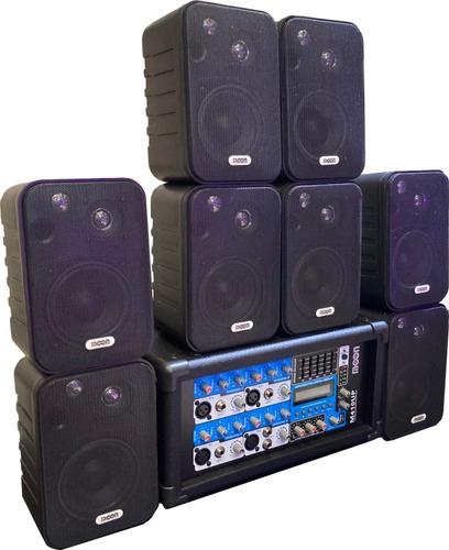 Combo Musica Funcional Reprod Usb Bluetooth 8 Bafles Esdj