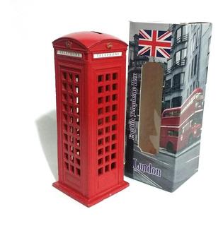 Alcancía Cabina Telefónica Roja Londres 14cm Metal Excelente