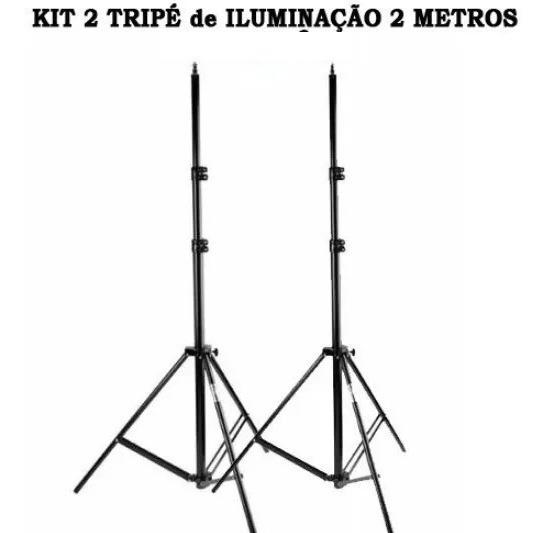 Kit 2 Tripés De Iluminação 2 Metros
