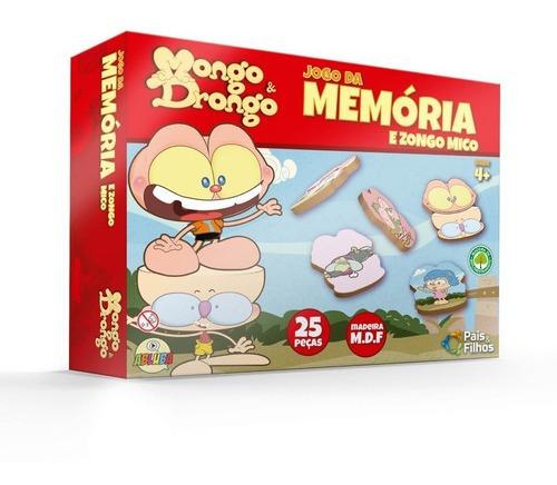 Imagem 1 de 2 de Jogo Da Memória Mongo E Drongo 25 Peças Mdf - Pais & Filhos