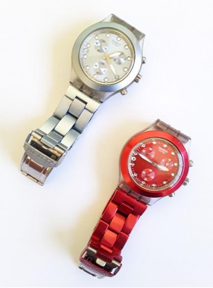 2 Relogios Swatch Irony Diaphane Aluminio E Vermelho