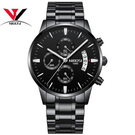 Relógio Nibosi® Original Cronom/cronógrafo Com Caixa + Chave