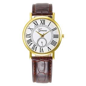 Relógio Feminino Mostrador Numerais Romanos Pulseir Couro Pu