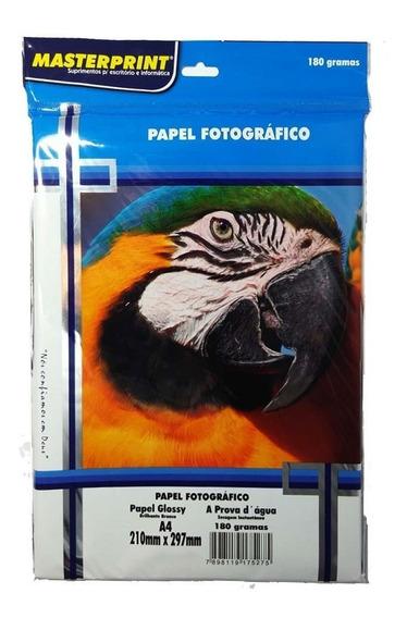Kit Papel Foto Masterprint A4 180g C/50f - C/10 Pacotes