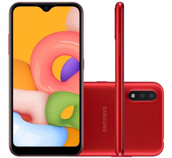 Celular Samsung Galaxy A01 Vermelho 32gb Tela 5.7 Cam Dupla