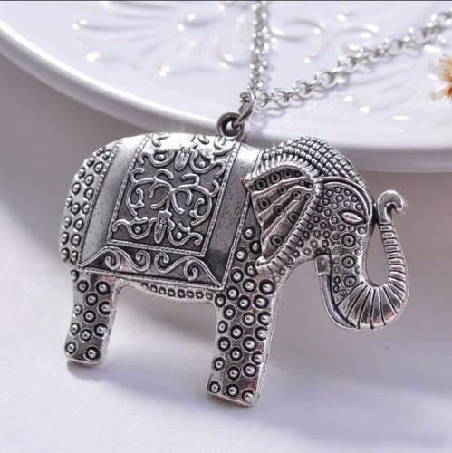 Moda Feminina Colar Elefante Indiano Prateado