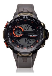 Reloj Pro Space Hombre Caucho Gris Negro Digital Psh0063