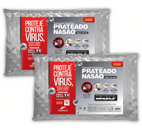 Kit 2 Travesseiros Nasa Alto Prateado Anti Vírus Altura 14