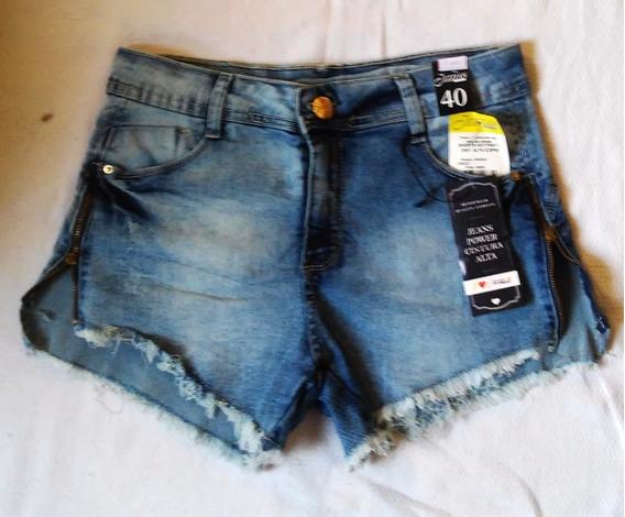 Short Jeans Cintura Alta Com Ziper Lateral