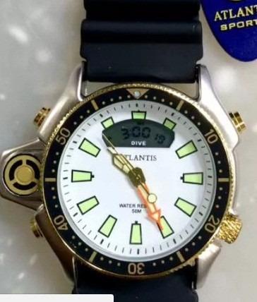 Relógio Atlantis Acqualand Serie Ouro Pulseira Borracha