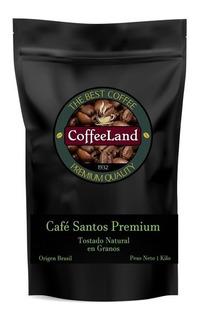 Café Tostado En Granos - 1 Kilo - Calidad Premium Santos