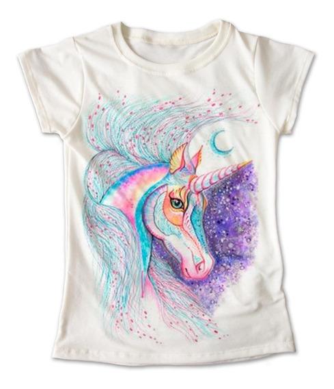 Blusa Unicornio Colores Playera Estampado Morado 061