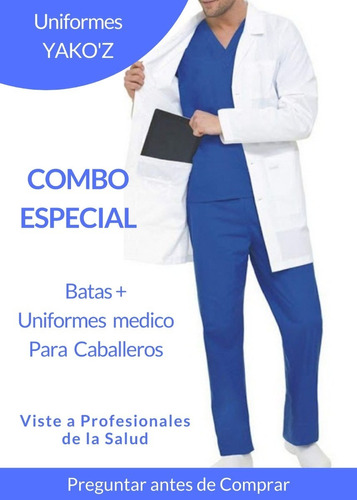 Batas De Caballeros + Uniformes Medicos Marca Yakoz En Combo