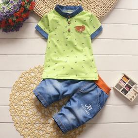 Conjunto Bebê Camisa Infantil Menino Bermuda Pronta Entrega