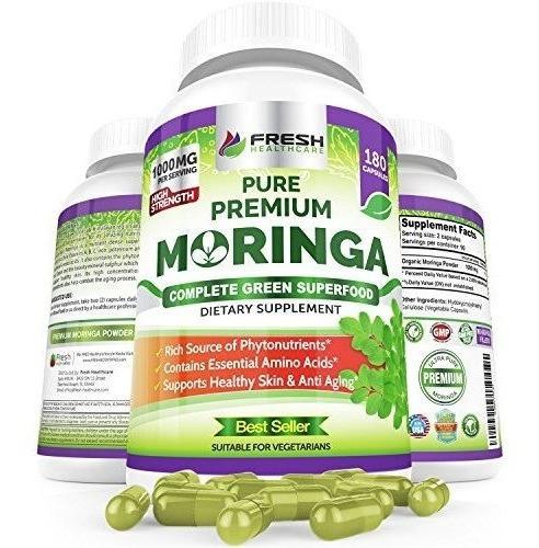 180 Cápsulas Orgánicas Moringa  - 100% De Polvo Puro