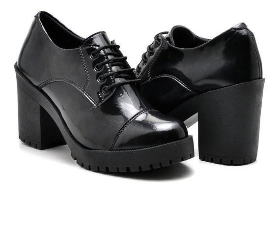 Sapato Oxford Salto Grosso Tratorado Verniz Cano Curto