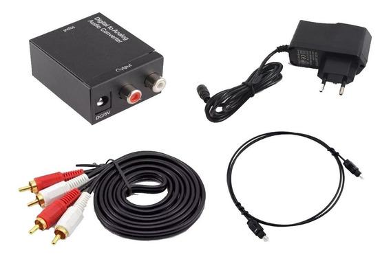Adaptador Conversor Ótico P/ Rca + Cabo Otico + 2 Rca X 2rca