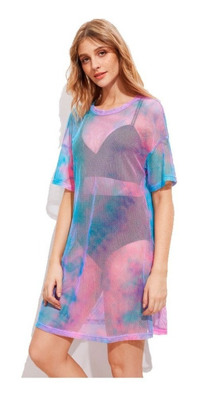Vestido De Malla Para Playa Color Combinado