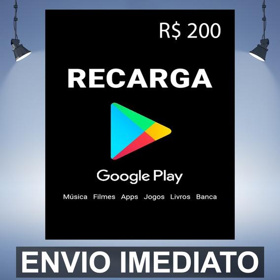 Google Play Gift Card 200 Reais Cartao Presente