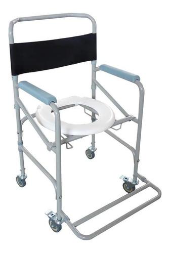 Imagem 1 de 5 de Cadeira De Banho Higienica Adulto Em Aço Dobrável 100 Kg