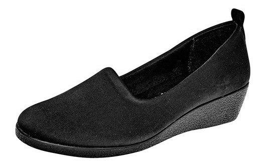 Zapato Piso Mujer Padus Negro Textil Cuña Cerrado D29318 Udt