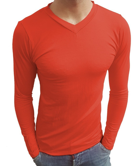 Camiseta Gola V Masculina Slim Fit Moda Casual Segunda Pele