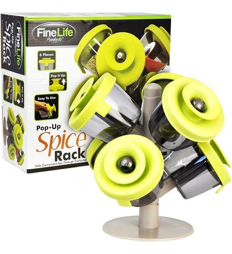 Especiero Spice Rack De 6 Piezas Con Tapas Pop-up