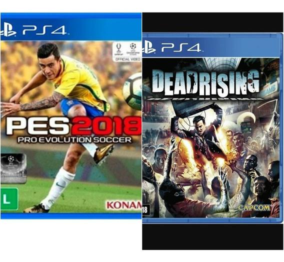 Combo 2 Jogos Ps4 Pes 2018 + Deadrising Midia Fisica Atacado