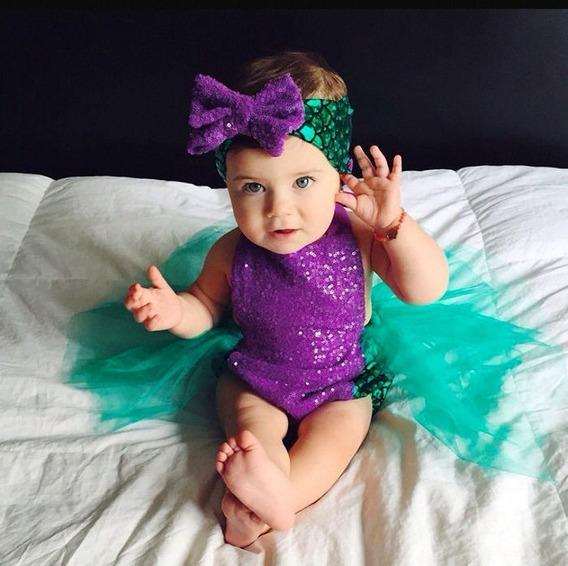 Pañalero Sirenita Ropa Moda Para Bebé Niña Hermoso Calidad Disfraz Con Diadema