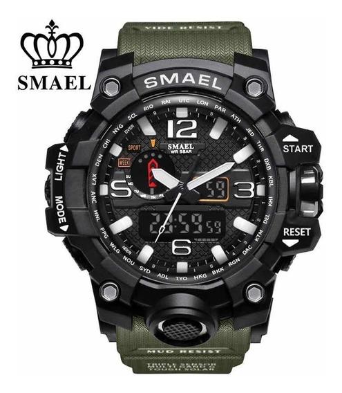 Relógio Esmael Militar Shock 1545 Verde Exército