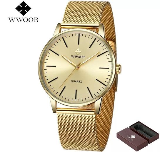 Relógio Masculino Slim Com Caixa De Luxo Original