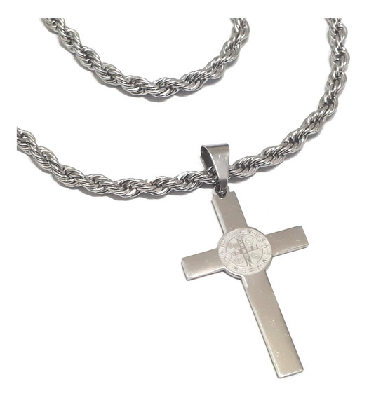 Crucifixo São Bento Dupla Face + Cordão Trançado 60 Cm Aço