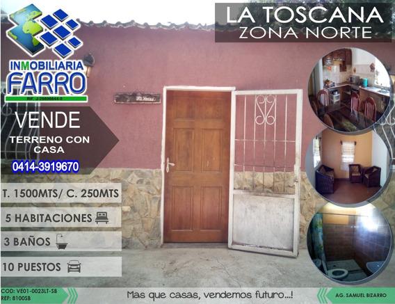 Venta De Terreno Con Casa En La Toscana Ve01-0023lt-sb