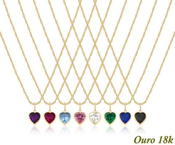 Cordão Feminino Ouro 18k 750 45cm + Ponto De Luz Coração