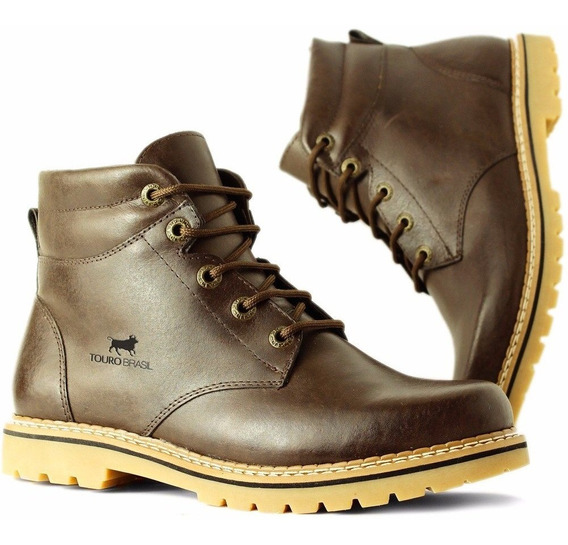 Bota Botina Coturno Masculino Couro Casual Country Exclusiva