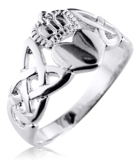Anel Celta Claddagh Pura Prata 925 Unisex - Exclusivo