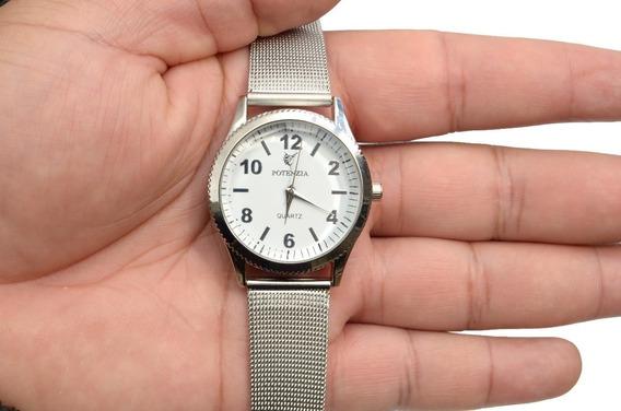 Relógio Feminino Potenzia Pulseira De Aço Inox Hiper Oferta.
