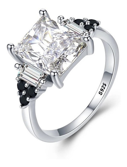 Anillo 2 Qt Cristal Swarovski Elements Plata Esterlina Mujer