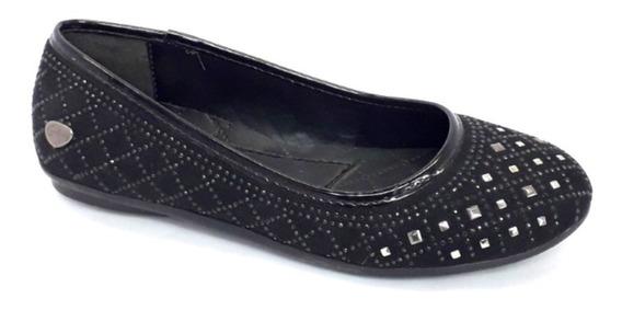 Cavatini Mujer Chatita Negra Brillo Zapato Liviano 35 36
