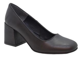 Zapato De Cuero Taco Ancho 7 Cm. Primavera Verano Mujer
