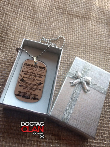 Dog Tag Placa Plaqueta Mensagem Pai Gravação Grátis