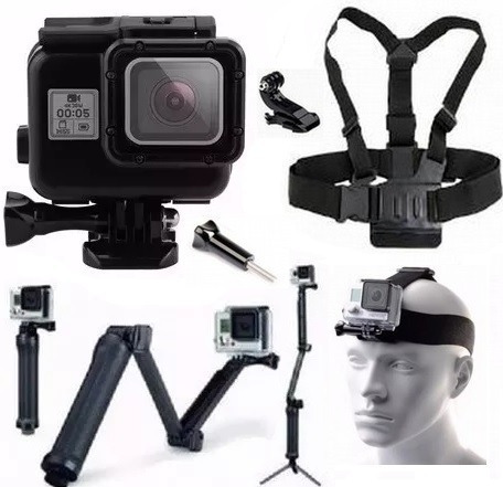 Kit P Gopro Hero 5 Hero 6 Hero 7 Black Tripé 3 Way Estanque