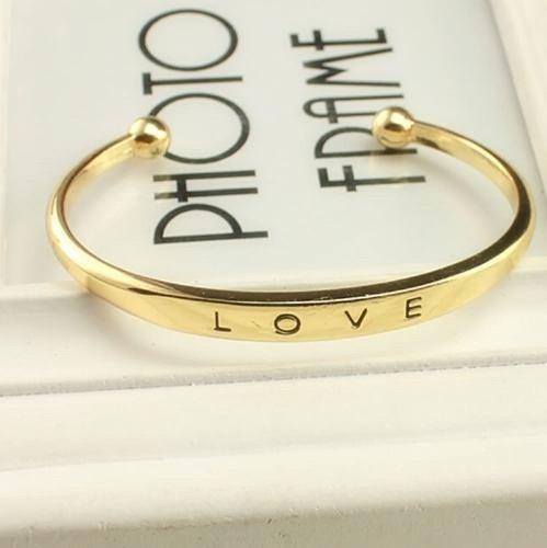 Pulseira Namorados Love Dourada E Prateada