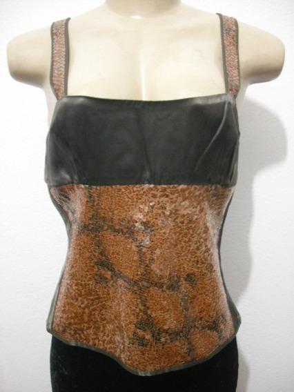 Blusa Cropped Marrom Paetes Silvia Dore Tam M 42 Bom Estado