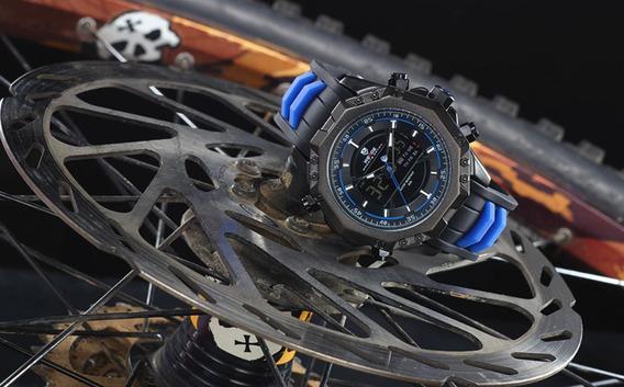 Relógio Masculino Aço Inoxidável Analogico E Digital C/luz
